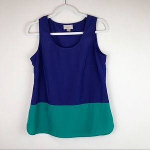 LOFT Sleeveless Blouse Blue Teal Petite sz MP